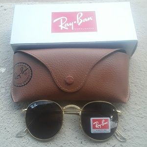 Brand New Brown RayBan Metal Rounds 50mm